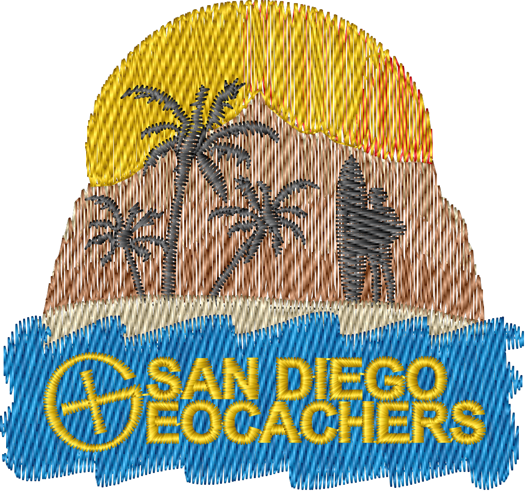 San Diego Geocachers embroidered logo
